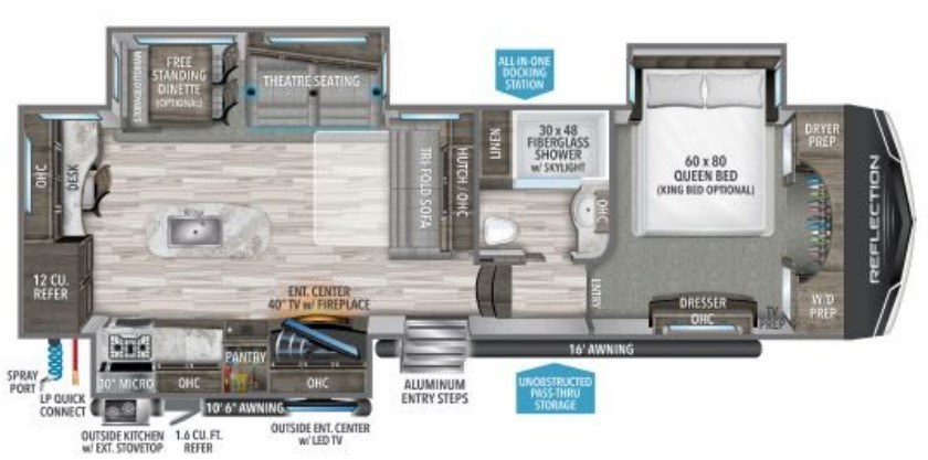 2022 Grand Design Reflection 320MKS Floorplan