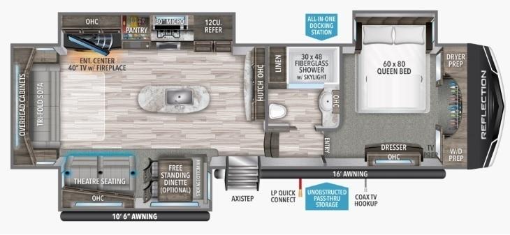 2022 Grand Design Reflection 337RLS Floorplan